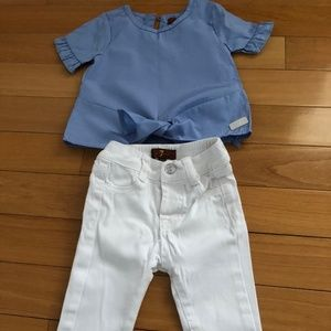white jeans with blue top